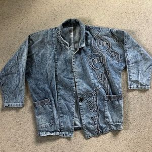 vintage acid wash beaded 80s jean jacket m/l